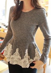 shirt,sweater,lace,grey,girly,cute,top,peplum,long sleeves,casual,fall outfits,style,winter outfits,fashion,gamiss