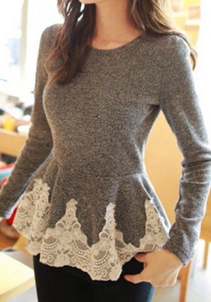 shirt sweater lace grey girly cute top peplum long sleeves casual fall outfits style winter outfits grey fashion gamiss