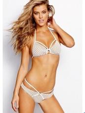 swimwear,bikini,fishnet bikini,white top,stappy