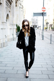 flirting with fashion,blogger,leather leggings,faux fur jacket,black jacket,jacket,shirt,pants,shoes,bag,jewels,sunglasses