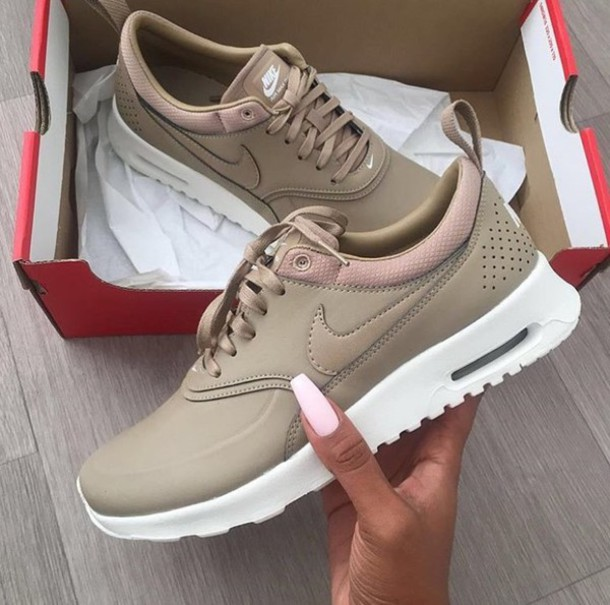 shoes, nude, women, nikes, nike, low top sneakers, air max, nude sneakers, nike air max thea, desert camo, nike shoes, nike air max thea, nike air max thea ...