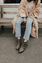 shoes,green boots,tumblr,buckle boots,buckles,ankle boots,susanna boots,denim,jeans,light blue jeans,cardigan,top,white top,fringes