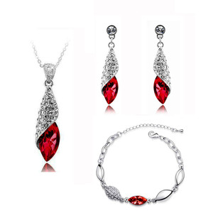Bridal Jewellery Set Red Crystal Teardrop Earrings Necklace & Bracelet S273 | Amazing Shoes UK