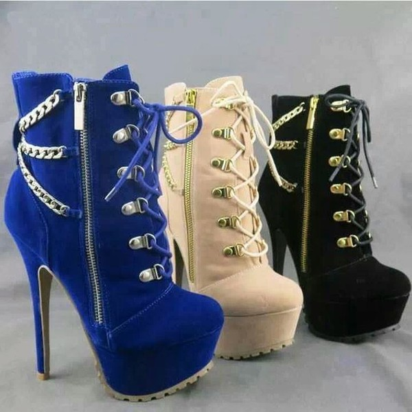 shoes platform shoes boots high heels chain ankle boots blue suede boots high heels boots