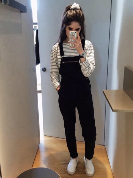 Jumpsuit overalls romper black tumblr tumblr girl tumblr outfit - Wheretoget