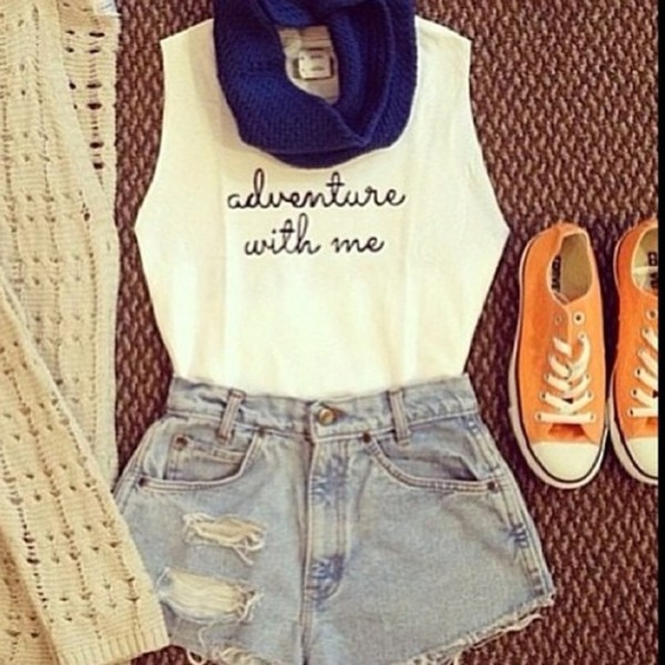 shorts tank top sweater denim shorts shirt scarf shoes