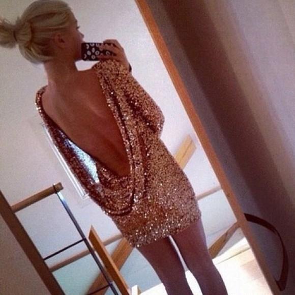 sparkle dress dress glitter dress gold sequins backless backless dress sequins sequin dress