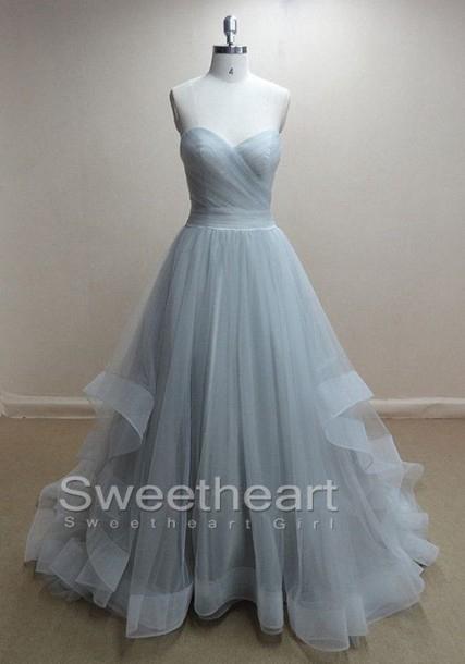 Line tulle long prom dresses, formal dress