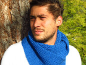 scarf,mens scarf,blue knit scarf,hand made scarf,neck warmer