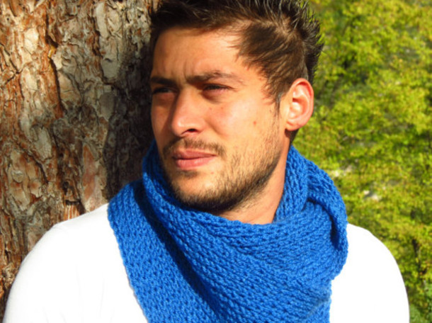 scarf mens scarf mens scarf blue knit scarf hand made scarf neck warmer