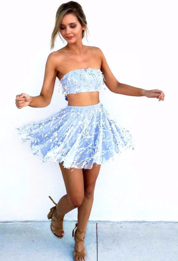 Alice Two Piece Skater Dress Blue