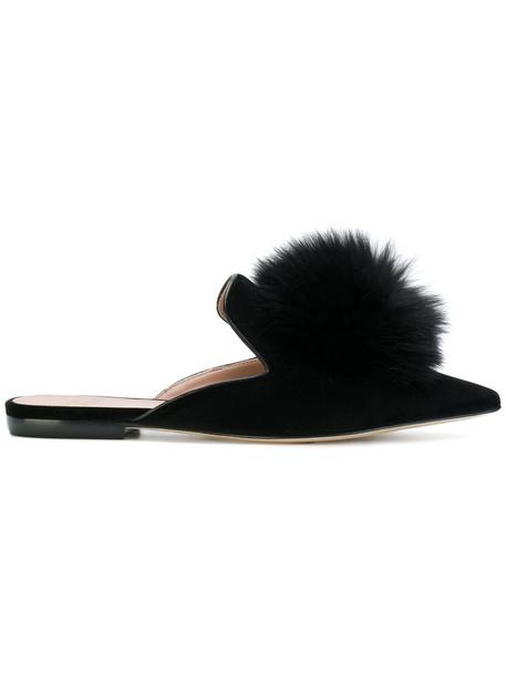 Gianna Meliani cool women mules leather black velvet shoes