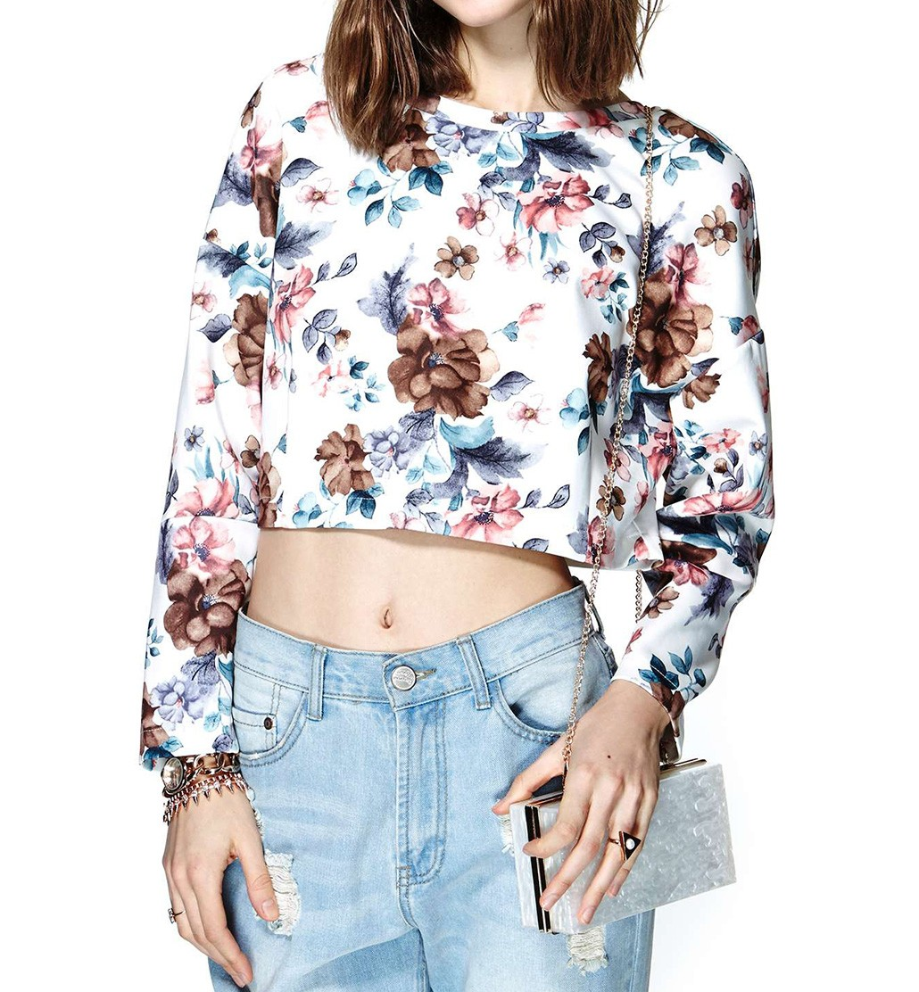 Long Sleeve Cropped Top In Floral Print