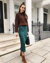 skirt,midi skirt,satin,pencil skirt,ankle boots,suede boots,handbag,sweater,knitted sweater,hoop earrings,brown sweater