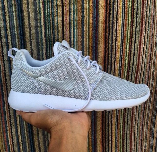 shoes roshes nike roshes silver silver/grey nike running shoes tennis shoes nike sneakers nike shoes