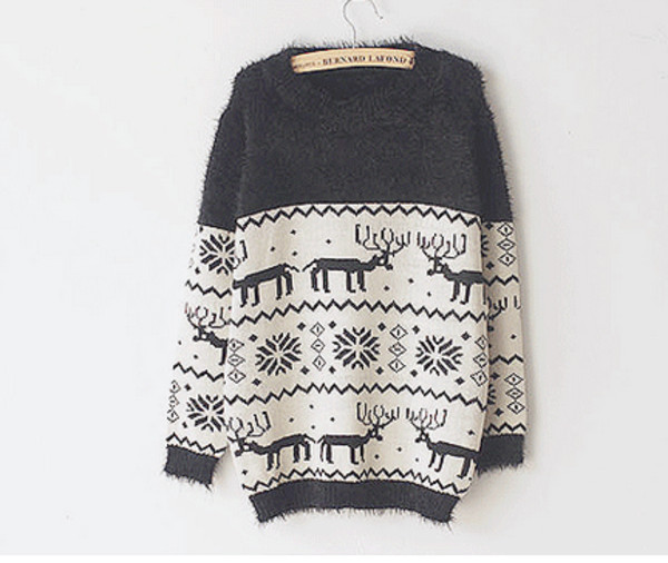 sweater jumper deer christmas navy cute fashion winter sweater christmas sweater moose grey sweater snowflake white