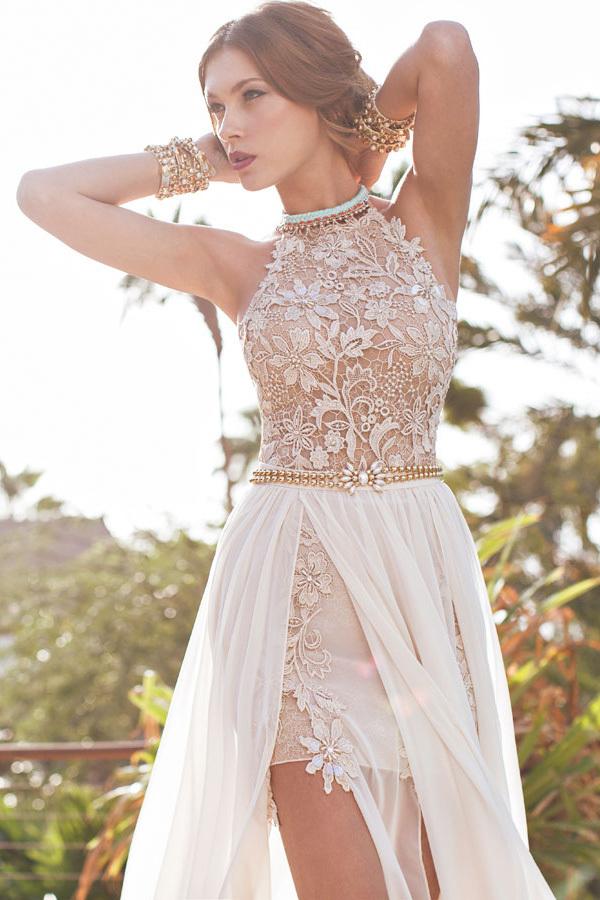 Aliexpress.com : buy 2015 new fashion cap sleeve v neck a line lace chiffon long bohemian wedding dress beach sexy vestidos de novia from reliable wedding dress lace short suppliers on 27 dress