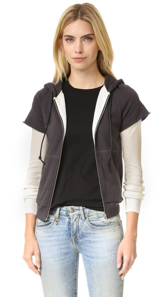hoodie layered black sweater