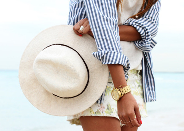 shirt striped shirt cute shorts hat gold watch jewels blouse stipes blue white watch short beach pin stripes
