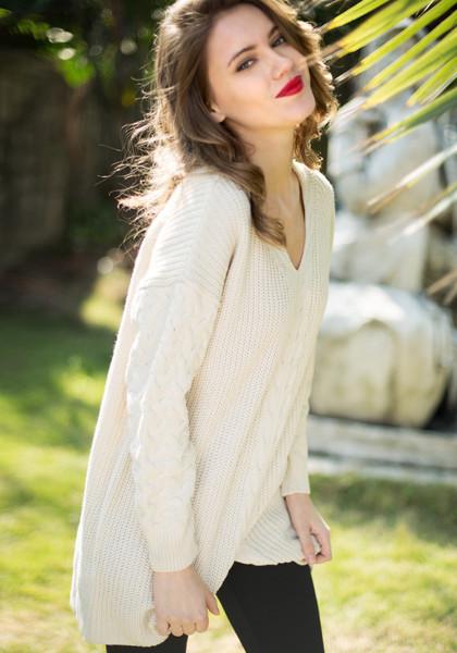 V Neckline Slit Hem Sweater - Beige