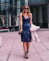 visions of vogue,blogger,dress,shoes,coat,bag,sunglasses,jewels,sequin dress,blue dress,party dress