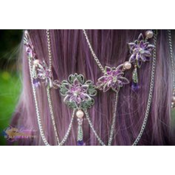hair accessory water lily purple green green flower hair chain chain purple flowers purple flower hair clip purple flower green flowers