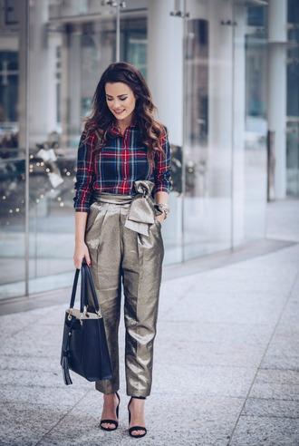 live more beautifully blogger shirt pants bag shoes jewels handbag plaid shirt tote bag high heel sandals sandals