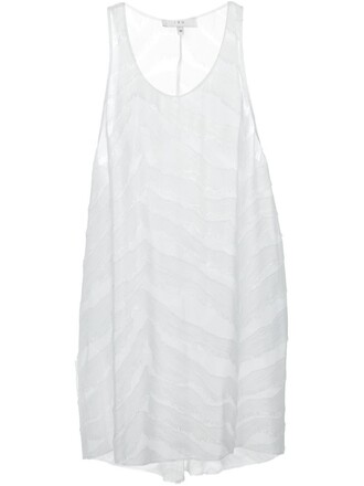 tank top top long sheer white