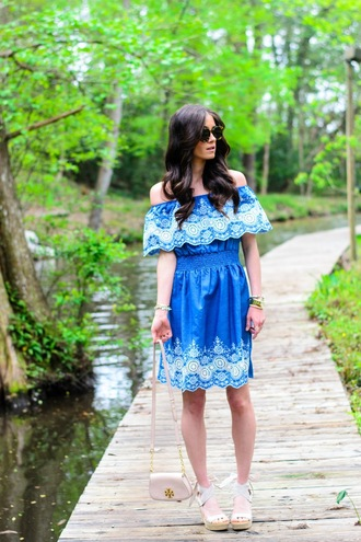 book of leisure blogger sunglasses blue dress off the shoulder wedges white heels mini bag shoulder bag