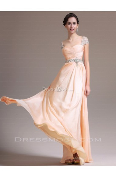 chiffon dress evening dress party dress gown pink dress beading dress prom dress fashion formal prom summer dress