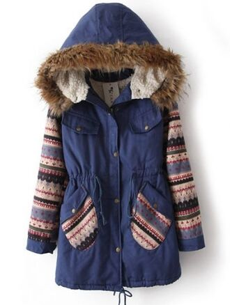 coat tribal pattern outerwear winter jacket winter coat fur fur coat navy snow snowflake cute love girly girl jacket women aztec aztec clothing aztec colors pattern color winter fashion print clothes girl love this style winter outfits