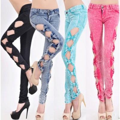Slim side bow denim women's jeans pants