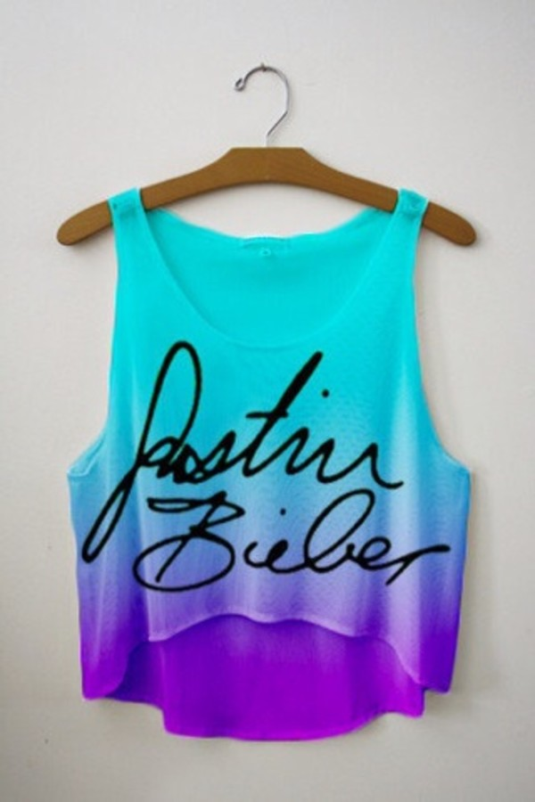 shirt tie dye signature purple and blue tank top justin bieber