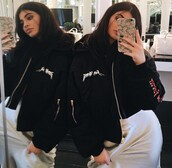 jacket,kylie jenner,black jacket,fall jacket,dress,camisole,kardashians,instagram,silk dress,white