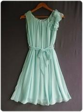 dress,mint dress,aqua dress,turqouise,ruffle,mint,bow
