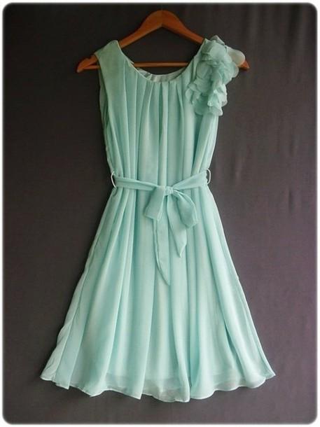 dress mint dress aqua dress turqouise ruffle mint bow