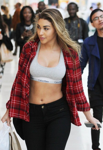 red shirt top plaid shirt grey calvin klein sports bra