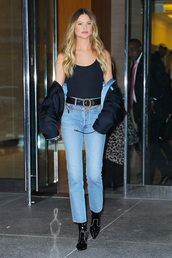 jeans,behati prinsloo,model off-duty,denim,boots,jacket