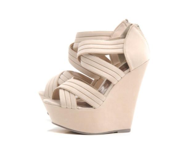 f94b9e9fa39 shoes wedges platform shoes strappy cream beige