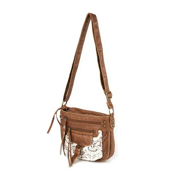 Bag: brown, purss, white lacce, side purse, zip, brown leather bag ...