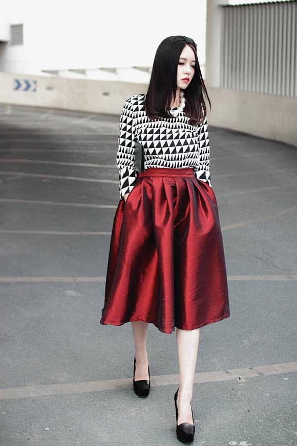Midi Skater Skirt | Choies