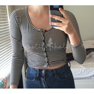 top cool summer stripes black and white long sleeves crop tops cropped button up casual basic cute beautifulhalo