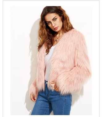 jacket fur coat fur pink fur coat blush fur coat pink fur