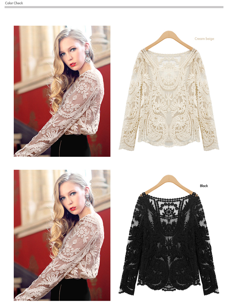 2013 autumn 6 colors women cotton lace blouse t shirt sexy see through embroider long sleeve shirts outwear