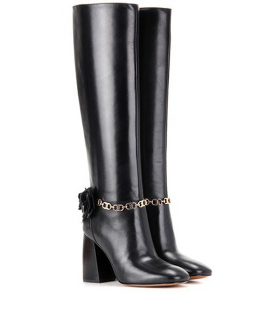 Tory Burch Blossom 90 Leather Boots in black