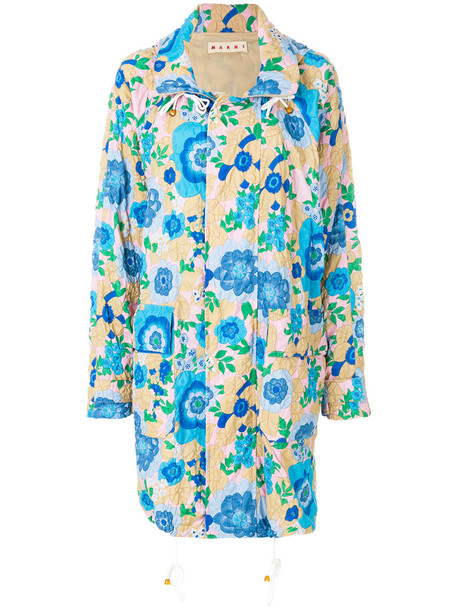 MARNI coat printed coat women floral blue silk