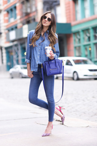 something navy blogger jeans shirt shoes bag sunglasses dior so real