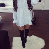 grey dress,winter dress,black boots,knee high boots,sweater dress,thigh high boots,sweater,dress,cotton,shoes,knitwear,oversized,sweatshirt,grey,sweatshirt dress,grey sweater,black dress,baggy shirt,baggy sweaters,grey sweater dress