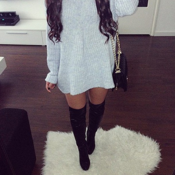 Grey Dress Winter Dress Black Boots Knee High Boots Sweater