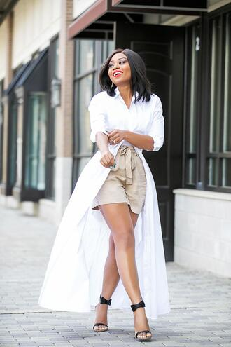 jadore-fashion blogger shirt dress shorts shoes bag jewels shirt dress sandals high heel sandals beige shorts